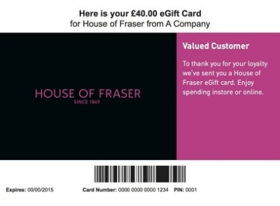 House of Fraser consolidates online gift cards