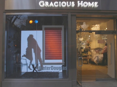 Front window digital signage for Hunter Douglas