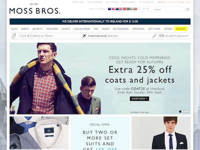 Moss Bros tailors analytics
